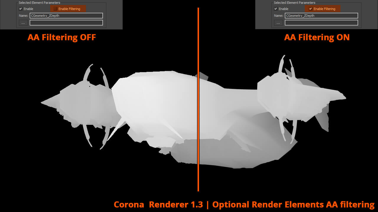 hoc render corona-corona displacement & zdepth