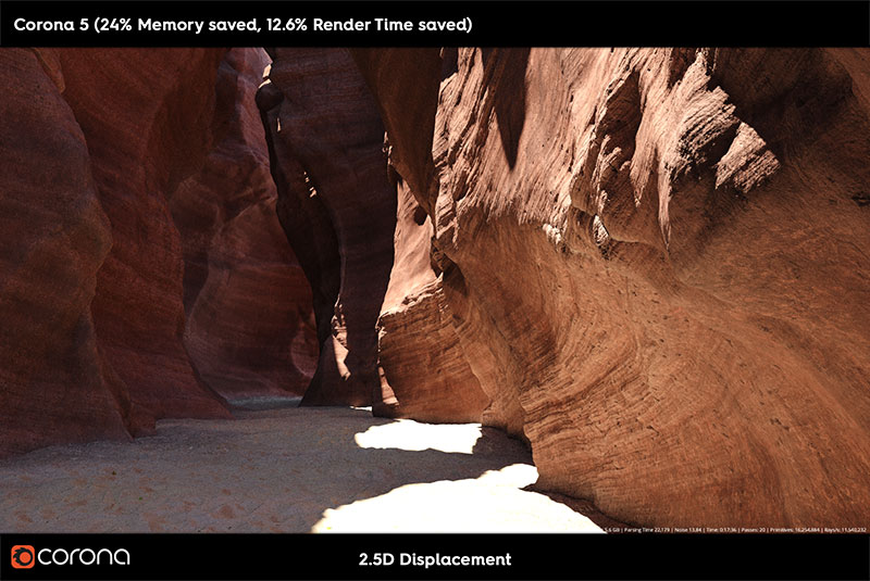 Corona Renderer 5-2.5D Displacement Sandstone Image Comparer Corona 5 a
