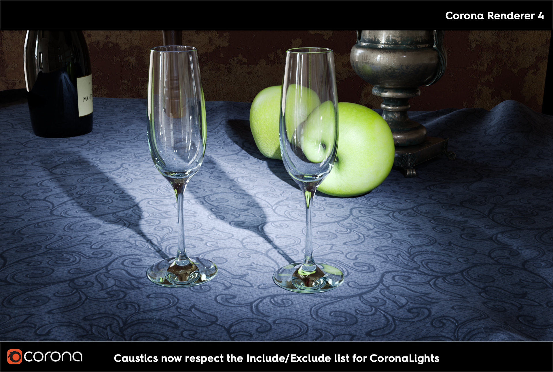 Corona Renderer 5, Caustics now respect Include/Exclude lists for CoronaLights