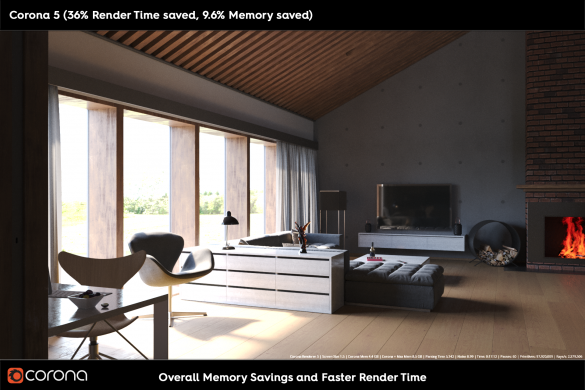 Corona Memory and Render Time Savings