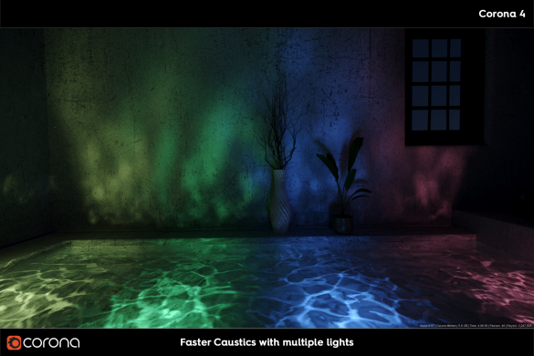 Render Caustic vơi Corona Renderer 5 khi có nhieu nguon sang trong khung canh