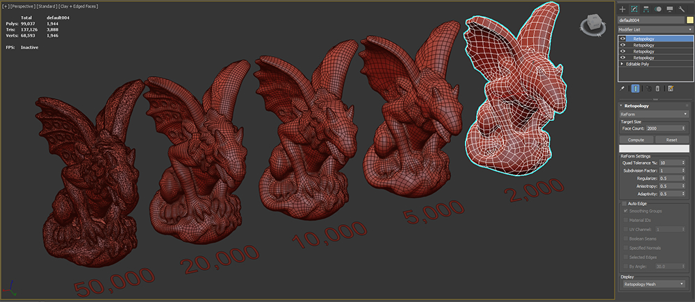 Retopology 3ds Max 2022