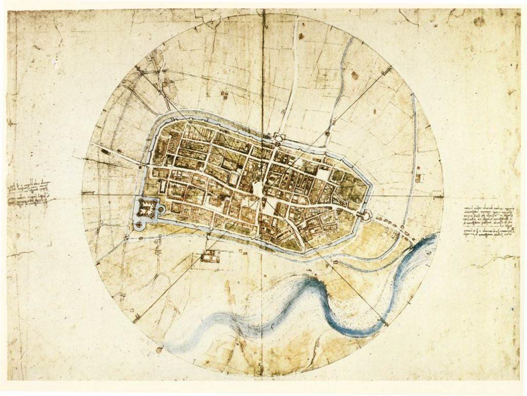 """Leonardo da Vinci, """"Town plan of Imola,"""" 1502"""